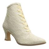 beige 12 cm VICTORIAN-30 dame ankelstøvletter med snøring