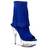 blå suede 15 cm DELIGHT-1019 høye ankelstøvletter med frynser til dame