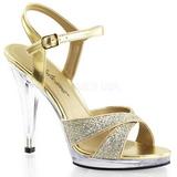 gull glitter 12 cm FLAIR-419G dame sandaletter lavere h�l