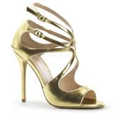 gull matt 13 cm AMUSE-15 høye fest sandaler med hæl