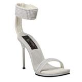 hvit strass 12 cm CHIC-40 h�ye kvinner sko med stilett h�ler