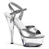 sølv gjennomsiktig 15 cm Pleaser KISS-209 platå høye hæler sko