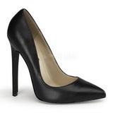 svart lær 13 cm SEXY-20 dame pumps sko flate hæl