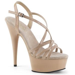 Beige 15 cm Pleaser DELIGHT-613 Womens High Heel Sandals