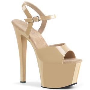 Beige Lakk 18 cm Pleaser SKY-309 platå høye hæler sko