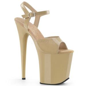 Beige Lakk 20 cm Pleaser FLAMINGO-809 platå høye hæler sko