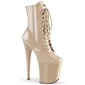 Beige Patent 20 cm FLAMINGO-1020 Platform Ankle Calf Boots