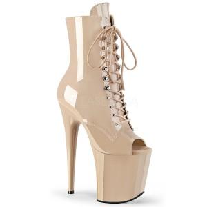 Beige Patent 20 cm FLAMINGO-1021 womens platform soled ankle boots