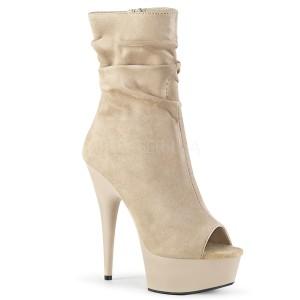 Beige Vegan 15 cm DELIGHT-1031 open toe ankle booties
