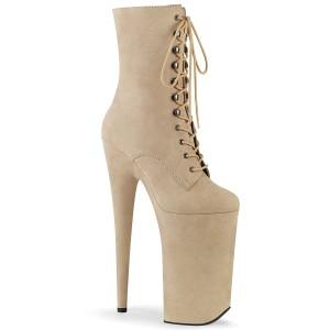 Beige Vegan 25,5 cm BEYOND-1020FS extrem platform high heels ankle boots