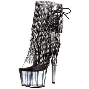 Black 18 cm ADORE-1017RSFT womens fringe ankle boots high heels