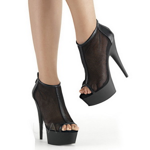 Black Mesh 15 cm Pleaser DELIGHT-600-12 Platform Ankle Calf Boots