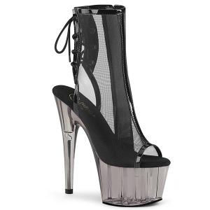 Black Mesh 18 cm Pleaser ADORE-1018MSHT Platform Ankle Calf Boots