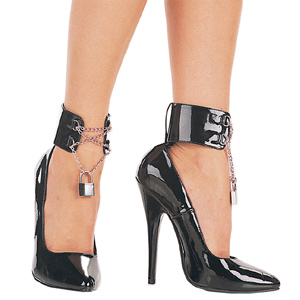 Black Varnished 15,5 cm DOMINA-434 Pumps with low heels