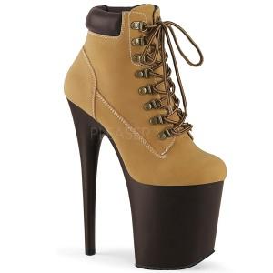Brown Faux Suede 20 cm FLAMINGO-800TL pleaser ankle boots platform