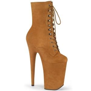 Brown Vegan 23 cm INFINITY-1020FS extrem platform high heels ankle boots