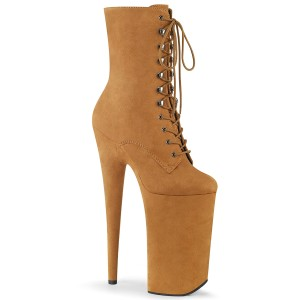Brown Vegan 25,5 cm BEYOND-1020FS extrem platform high heels ankle boots
