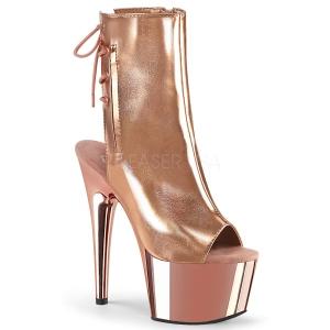 Gold 18 cm Pleaser ADORE-1018 Chrome Platform Ankle Calf Boots