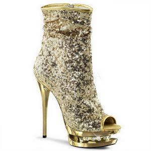 Gold Sequins 15,5 cm BLONDIE-R-1008 Platform Ankle Calf Boots