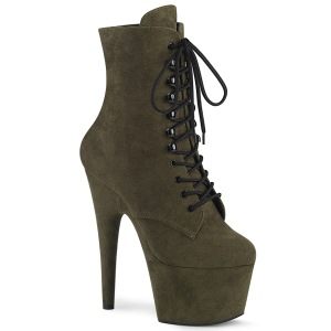 Green Leatherette 18 cm ADORE-1020FS lace up ankle boots