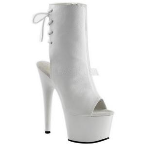 Hvit Lakk 18 cm Pleaser ADORE-1018 platå ankel høye støvler