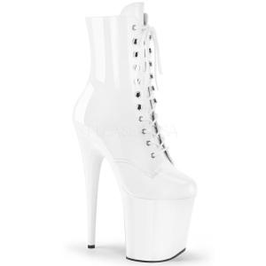 Hvit Lakk 20 cm FLAMINGO-1020 platå ankel høye støvler