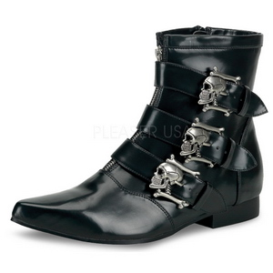 Leatherette 4 cm BROGUE-06 Winklepicker Mens Gothic Ankle Boots