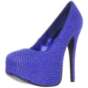 Light Blue Rhinestone 14,5 cm Burlesque TEEZE-06R Platform Pumps Women Shoes