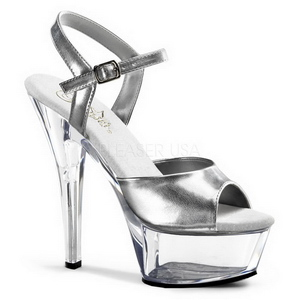 Silver Transparent 15 cm Pleaser KISS-209 High Heels Platform
