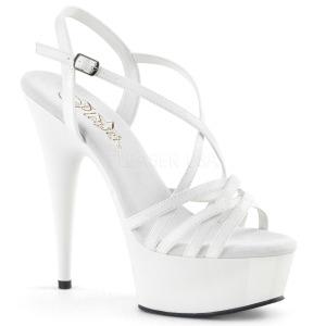 White 15 cm Pleaser DELIGHT-613 Womens High Heel Sandals