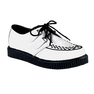 White Leather 2,5 cm CREEPER-602 Platform Mens Creepers Shoes