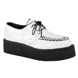 White Leatherette V-CREEPER-502 Platform Mens Creepers Shoes