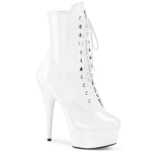 White Patent 15,5 cm DELIGHT-1020 Platform Ankle Calf Boots
