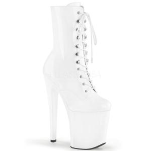 White Shiny 18 cm XTREME-1020 womens platform soled ankle boots