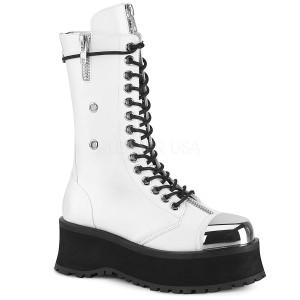 White Vegan 7 cm GRAVEDIGGER-14 demonia boots - unisex platform boots