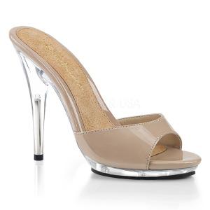 beige 13 cm Fabulicious POISE-501 dame slip ins med hæler