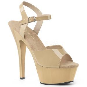 beige 15 cm Pleaser KISS-209 dame sandaler med hæl