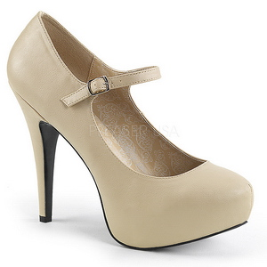 beige kunstlær 13,5 cm CHLOE-02 store størrelser pumps sko