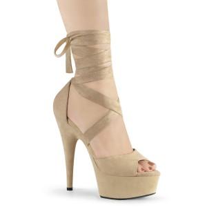beige kunstlær 15 cm DELIGHT-679 høye hæler med ankel blonder