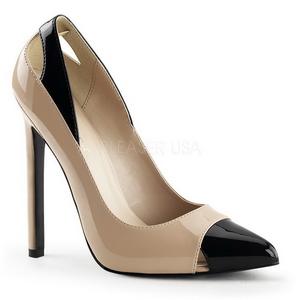 beige lakkert 13 cm SEXY-22 klassiske pumps sko til dame