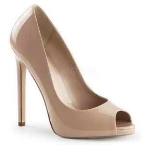 beige lakkert 13 cm SEXY-42 klassiske pumps sko til dame