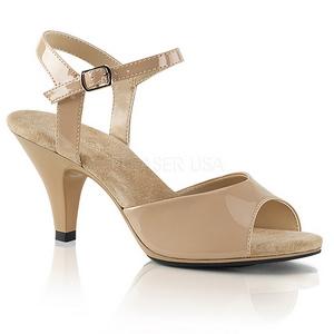 beige lakkert 8 cm BELLE-309 dame sandaletter lavere hæl