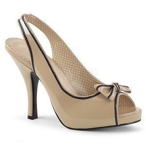 beige lakklær 11,5 cm PINUP-10 store størrelser sandaler dame