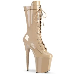 beige lakklær 20 cm FLA-1050 ekstremt ankelstøvletter høye hæler - platå støvletter