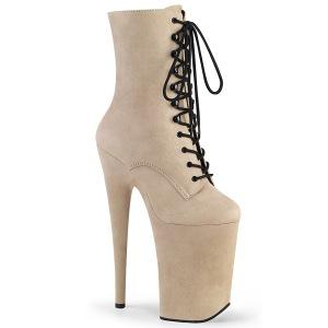 beige vegan 23 cm INFINITY-1020FS ekstremt ankelstøvletter høye hæler - platå støvletter