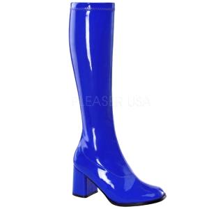 blå lakkert 8,5 cm GOGO-300 høye damestøvler til menn