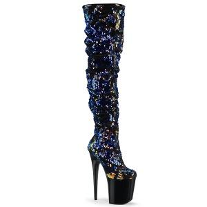 blå paljetter 20 cm FLAMINGO-3004 høyhælte overknee støvler - pole dance platåstøvler