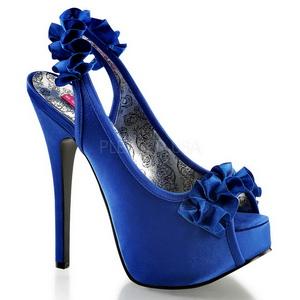 blå satin 14,5 cm Burlesque TEEZE-56 platå høyhælte sandaler sko