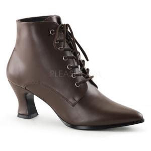 brun 7 cm VICTORIAN-35 dame ankelstøvletter med snøring