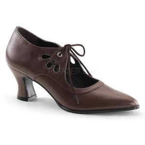 brun matt 7 cm retro vintage VICTORIAN-03 dame pumps med lave hæl